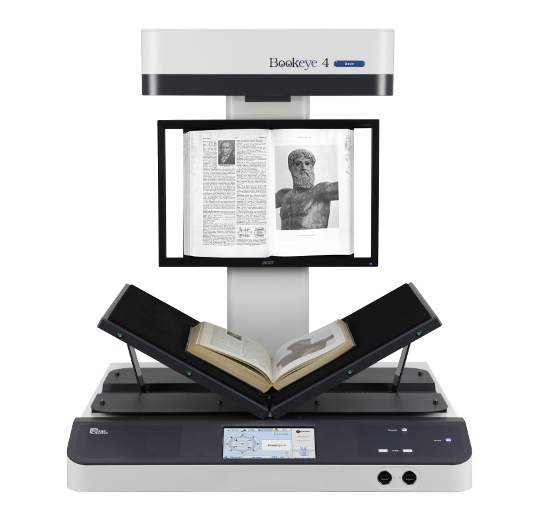 The Bookeye 4 scanner with a book on its platform.