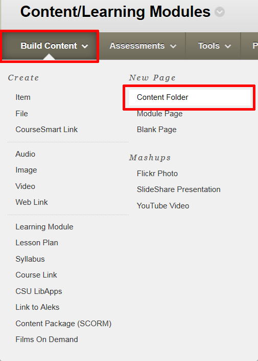 Blackboard's Build Content menu expanded with Content Folder highlighted.