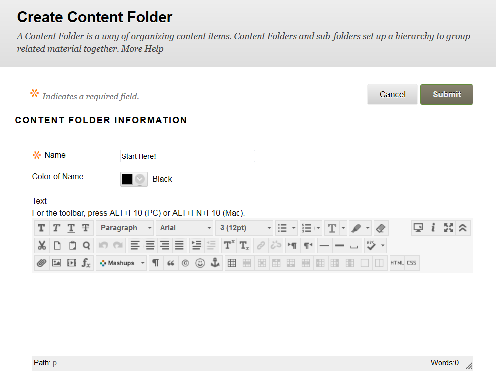 Blackboard's Create Content Folder window with an area for a Name and Text description