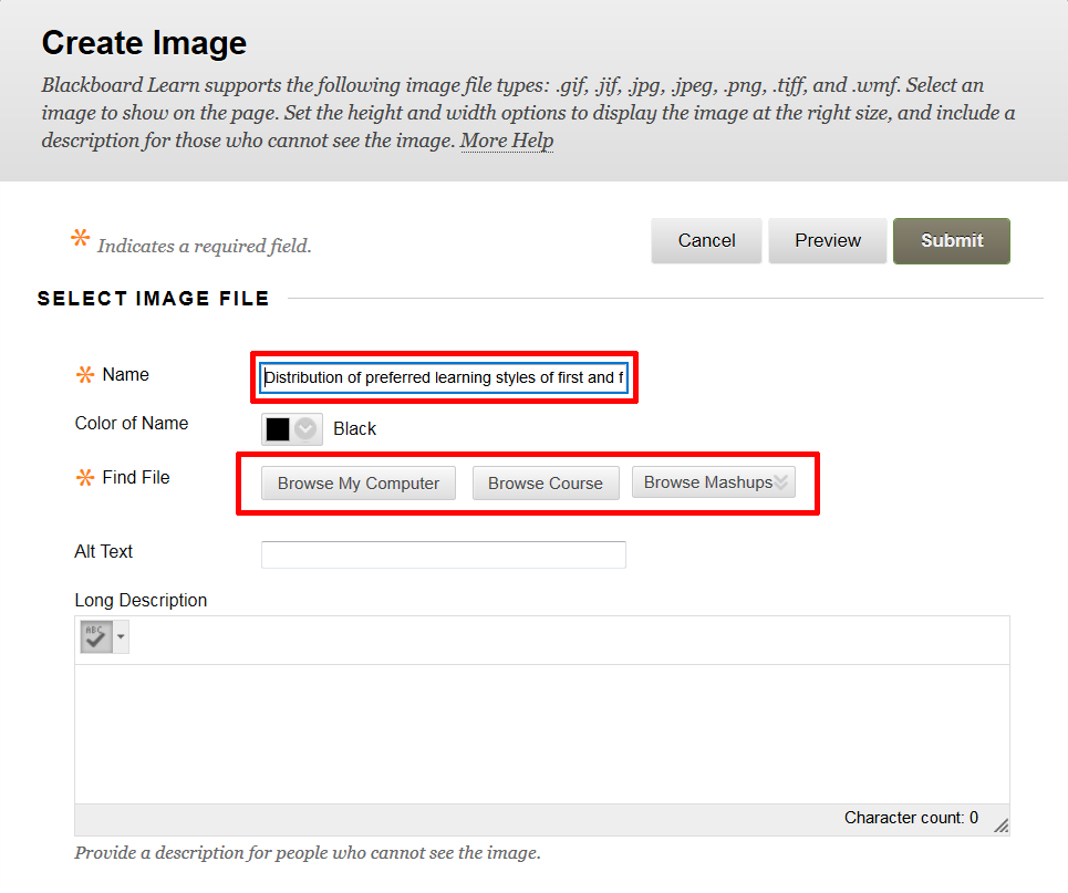Blackboard's Create Image window with the Name field and File File buttons highlighted.