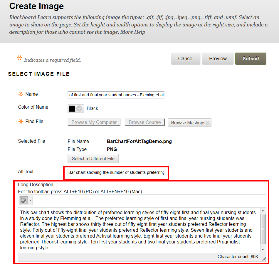 Blackboard's Create Image window with the Alt Text and Long Description fields highlighted.