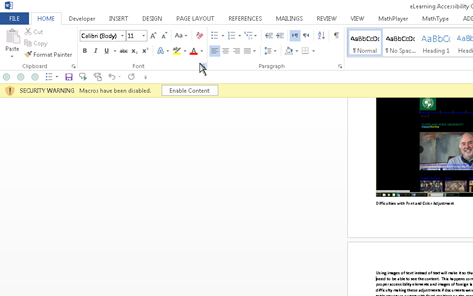 MAGic enlarging a Word document at 2 times magnification