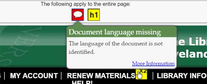 "A popup window for WAVE's red chat bubble icon. It says, ""Document language missing. The language of the document is not identified."""