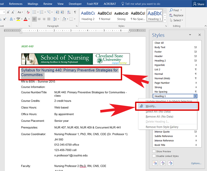 Screen capture of the pop up menu with the Modify option in Word.