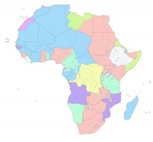 1913 map of Africa, colonial territories marked by different colors