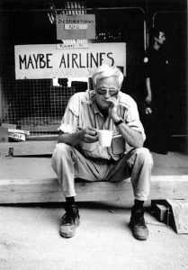 Journalist Terence Sheridan at the Sarajevo airport in 1993. Photograph by Elizabeth Sullivan.