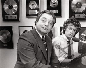 Cleveland Press columnist and television personality Dick Feagler with singer Eric Carmen in 1981. Cleveland Public Library Photograph Collection.