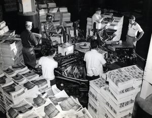 The end of the printing process: the Plain Dealer is assembled and ready for distribution on Oct. 22, 1956. Cleveland Public Library Photograph Collection.