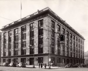 "The Plain Dealer offices in 1946 on Superior Avenue and E. 6th Street. This picture was taken on Feb. 6, 1946, the day a 32-day strike by the pressmen ended. The strike had stopped publication by Cleveland's three daily newspapers. ""Presses Roll And City Lives Again,"" the Plain Dealer declared. ""Coffee Was Flat Without Morning Paper."" Cleveland Public Library Photograph Collection. Used with permission."
