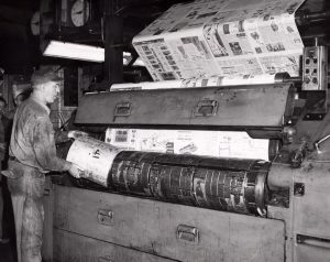 The Plain Dealer presses in 1954. Cleveland Public Library Photograph Collection.