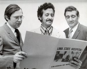 The Plain Dealer team that exposed horrifying abuses at the Lima State Hospital included, from left, Ned Whelan, Richard Widman and Bill Wynne. This picture was taken May 31, 1972, when the team received the Heywood Broun Award. Special Collections, Cleveland State University Library.