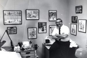 "Plain Dealer editorial cartoonist Ray Osrin in 1967. He held the position until his retirement in 1993. Photograph by William ""Bill"" Wynne. Special Collections, Cleveland State University."