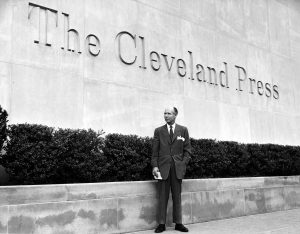 Editor Louis B. Seltzer stands in front of the Cleveland Press building located at E. 9th Street and Lakeside Ave. in 1960. Special Collections, Cleveland State University Library.
