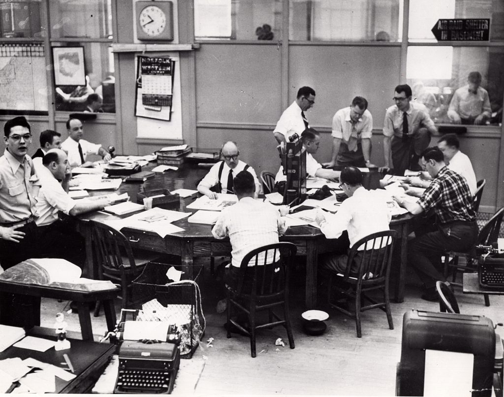 The Cleveland Press city room on Sept. 18, 1953. The Press was leading in the circulation war, and would grow to 314,247 daily readers within two years.* Cleveland Public Library Photograph Collection.