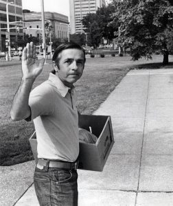 "Press photographer Paul Tepley waves goodbye on June 15, 1982, the day the Press folded. Photography by William ""Bill"" Wynne. Special Collections, Cleveland State University."