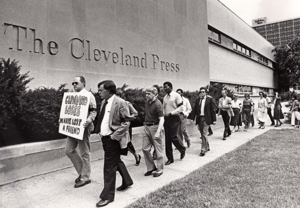 "A picket line outside The Press on E. 9th Street and Lakeside Avenue on June 15, 1982, the day it stopped publishing. The newspaper had been overtaken by the Plain Dealer in the circulation war. Photography by William ""Bill"" Wynne. Special Collections, Cleveland State University."