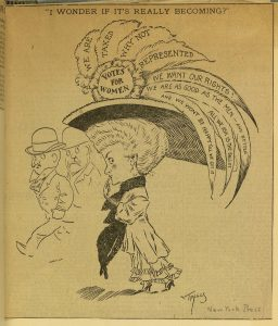 Woman in hat with feathers on which are printed the words: We are taxed. Why not represented? We want our rights. We are as good as the men - and better. All we ask is the ballot and we won't be happy 'till we get it.