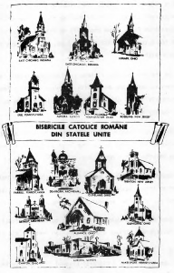 """Romanian Catholic Churches of Byzantine rite in the United States. (From """"Calendarul AMERICA 1965"""")"""