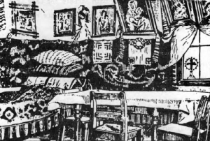 """Interior of a Romanian peasant home. (From """"The New Pioneer"""")"""