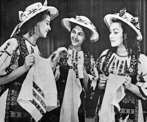 Romanian Girls in Transylvanian National Costumes