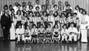 """SEZATOAREA"" -Romanian artistic, cultural group of Cleveland. (John Musat, leader, standing on left.)"