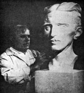 John David Brcin: American Serb, famous sculptor at work on Nikola Tesla's Statue, placed in the Nikola Tesla's Elementary School in Chicago, Illinois.