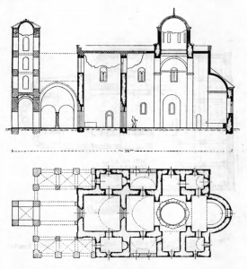 Fig. 10. Sopocani Monastery. Church of the Trinity. Groundplan and Longitudinal Cr.oss-Section. 13th and 14th Century.