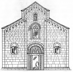 Fig. 15. Decani Monastery. Church of the Saviour. Drawing of the Elevation of the Western Facade, 14th Century.