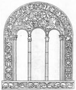 Fig. 16. Detani Monastery. Church of the Saviour. Drawing of the Apsidal Window, 14th Century.