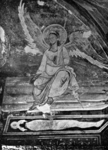 Fig. 18. Monastery of Marko. Church of St. Demetrios. The Ressurection of Christ: Detail of the Angel at the Tomb, Fresco, 14th Century. (Photo: Momcilo Djordjevic, Belgrade).