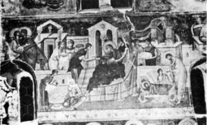 Fig. 19. Studenica Monastery. Chapel of Joachim and Anna. The Nativity of the Virgin, Fresco, 14th Century. (Photo: Gallery of Frescoes, Belgrade).