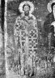 Fig. 20. Mileseva Monastery. Church of the Ascension. St. Sava the Serbian, Fresco, Narthex, 13th Century. (Photo: Gallery of Frescoes, Belgrade).