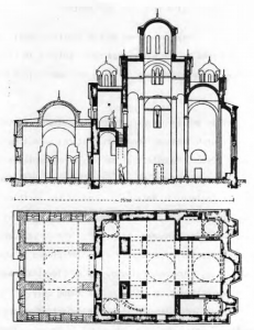 Fig. 23. Gracanica Monastery. Church of the Annunciation. Groundplan and Longitudinal Cross-Section, 14th Century.