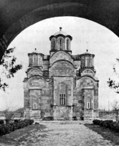 """Fig. 24. Gracanica Monastery. Church of the Annunciation. Exterior from the East. (Photo: Gallery of Frescoes, """"Belgrade)."""