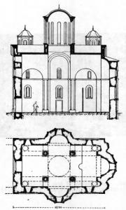 Fig. 26. Ravanica Monastery. Church of the Ascension. Groundplan and Longitudinal Cross-Section, 14th Century.