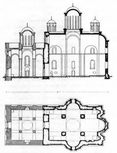 Fig. 27. Resava Monastery. Church of the Trinity. Groundplan and Longitudinal Cross-Section, 15th Century.