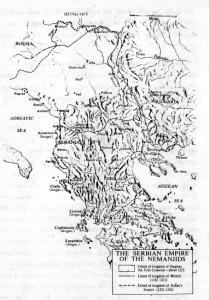 Fig. 4. The Serbian Empire under the Nemanjic Dynasty.
