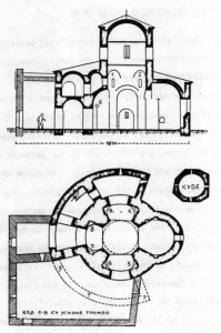Fig. 5. Ras. Church of St. Peter. Groundplan and Crosssection, 9th Century with Later Additions.