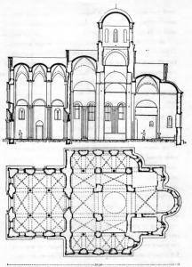 Decani Monastery. Church of the Saviour. Groundplan and Longitudinal Cross-Section, 14th Century.
