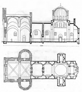 Fig. 7 . Studenica Monastery. Church of the Virgin. Ground plan and Longitudinal Cross-Section, Late 12th and 13th Century.