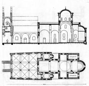 Fig. 8. Zica Monastery. Church of the Saviour. Groundplan and Longitudinal Cross-Section, 13th and 14th Century.
