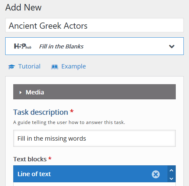 Screen for adding a new H5P content item with drop down to select content type and links to tutorials and examples