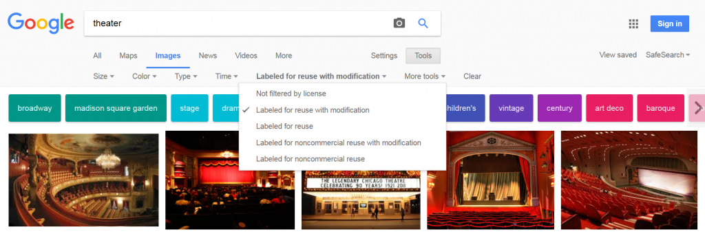 Google image search with Labeled for reuse with modification selected.