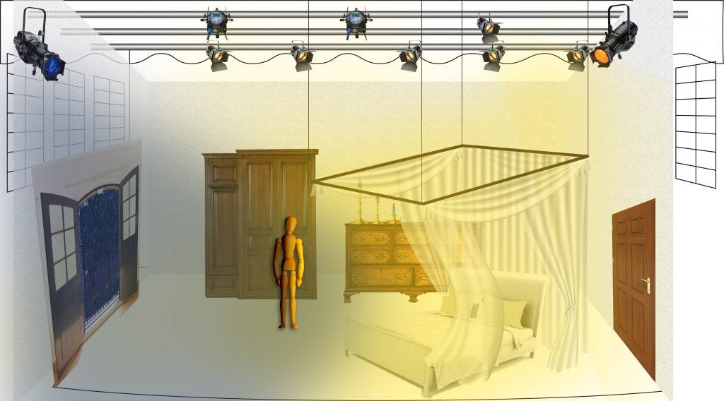 bedroom set design montage showing blue light coming from left and yellow from right. Juliet figure is in middle of room, next to bed, with canopy. Door to her balcony is open on the left.